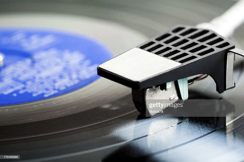 Turntable head on a LP : Stock Photo