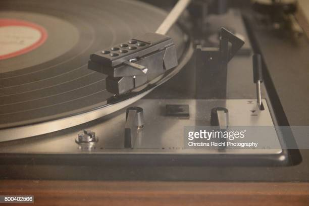 Turntable playing a record