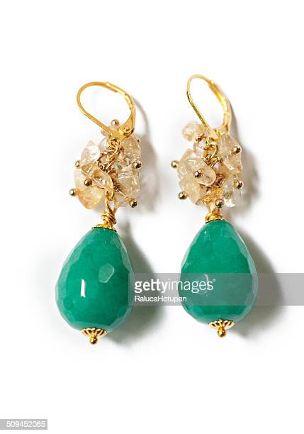 Turqoise faceted jade earrings
