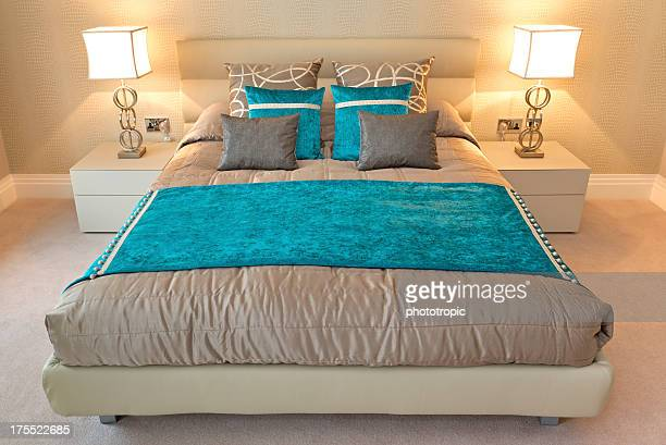 turquoise and gold bed