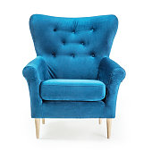 Turquoise Arm Chair Isolated on White Background. Front View of Upholstered Wingback Accent Sofa. Classic Tufted Armchair with Wooden Feet Teal Blue Velvet Upholstery. Interior Furniture with Armrests