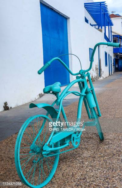 turquoise bike - lanzarote stock pictures, royalty-free photos & images