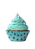 Turquoise cupcake on white
