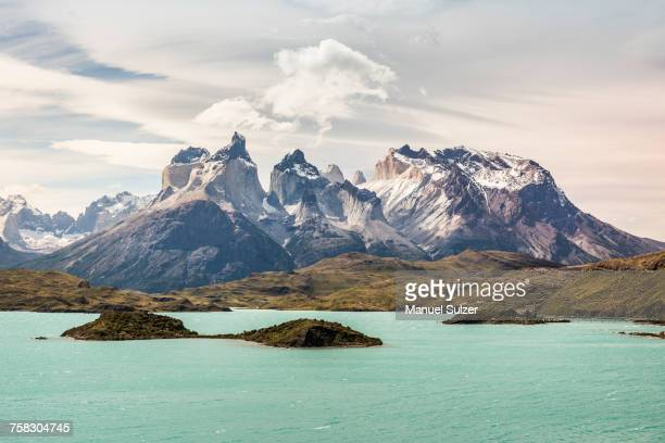 Turquoise lake and Cuernos del Paine, Torres del Paine National Park, Chile