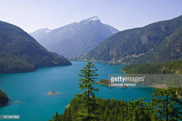 turquoise lake - diablo lake stock photos and pictures