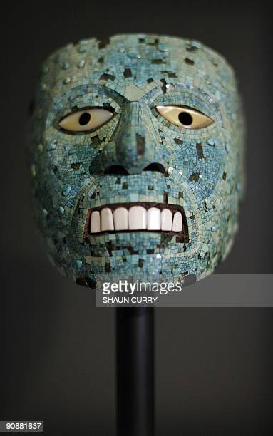 A turquoise mask dating from 14001521 is pictured at the 'Moctezuma Aztec Ruler' exhibition at the British museum in central London on September 17...