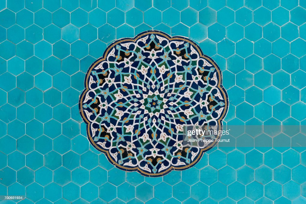 Turquoise Mosaic on a wall of Jameh Mosque in Yazd, Iran : Stock Photo