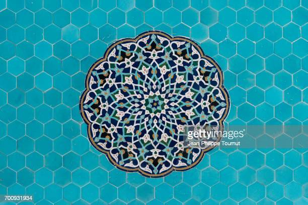 turquoise mosaic on a wall of jameh mosque in yazd, iran - persian stock photos and pictures