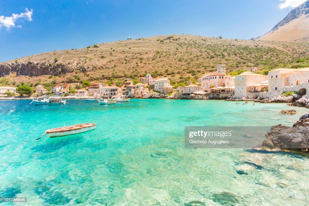 Turquoise sea at the coastal village of Limeni, Mani region, Peloponnese, Greece, Europe : Stock Photo