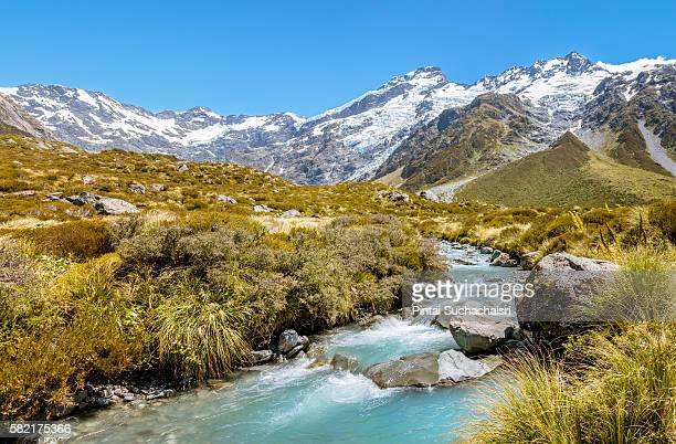 Turquoise Stream on Hooker Valley Track in Mt. Cook National Park, New Zealand