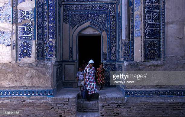 Turquoise tiling on tombs Samarkand the pivotal city on the old Silk Road between Europe and China