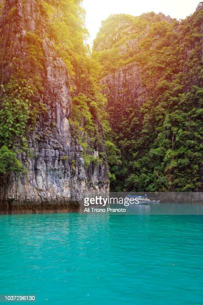 turquoise water of pileh lagoon, phi phi island, thailand - phuket province stock pictures, royalty-free photos & images