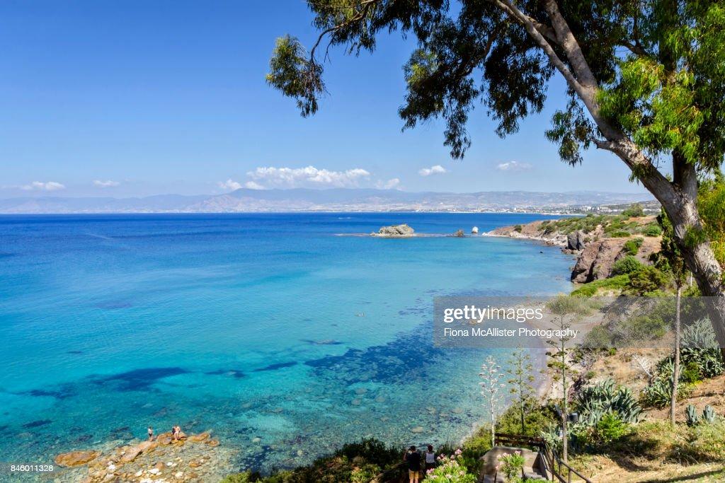 Turquoise Waters at Aphrodite Beach, Latchi, Cyprus : ストックフォト