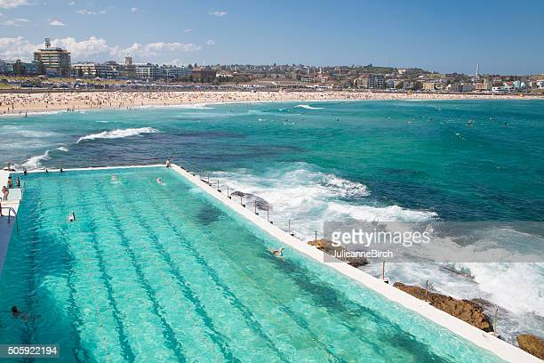turquoise waters of bondi beach and swimming pool - bondi beach stock pictures, royalty-free photos & images