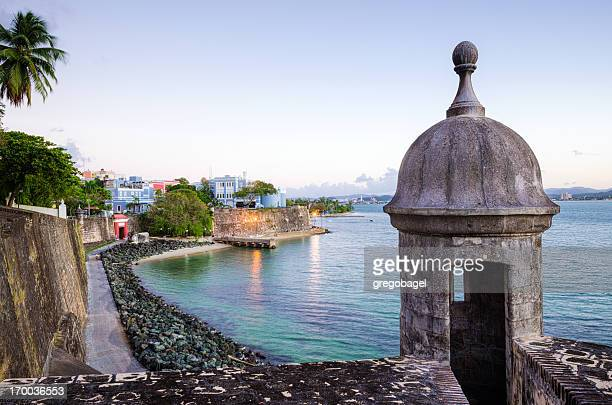 turret along old san juan wall in puerto rico - puerto rico stock pictures, royalty-free photos & images