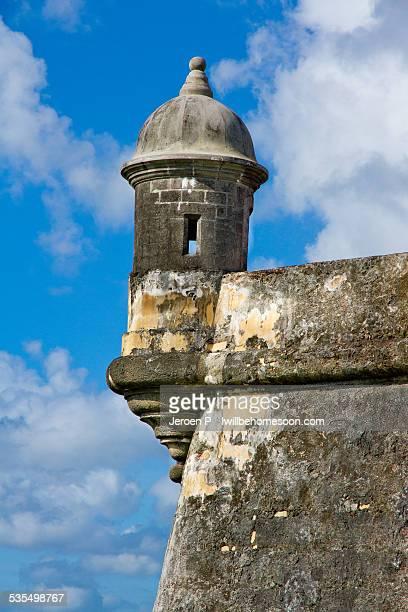turret lookout tower san juan puerto rico - old san juan wall stock photos and pictures