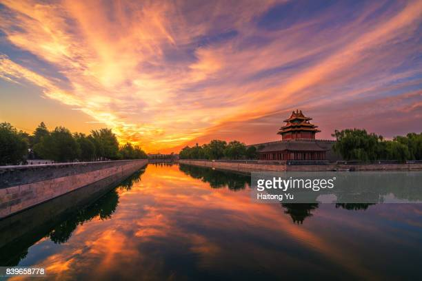 turret palace of the forbbiden city at sunrise. beijing. china. - moat stock pictures, royalty-free photos & images