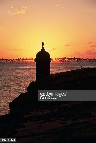 Turret Silhouetted at Sunset