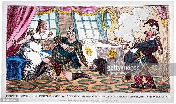 'Turtle doves and turtle soup' 1822 A scene on board the Royal Yacht George IV is wearing Highland dress and kneeling at the feet of Lady...