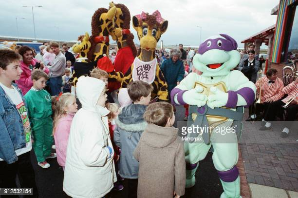 Turtle Mania hit Teesside today at the opening of the new Toys R Us at Teesside Shopping Park Sandown Way Stockton on Tees 6th October 1990 Donatello