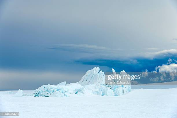 Fractured ice blocks pushed skywards along pressure ridges in the sea ice.