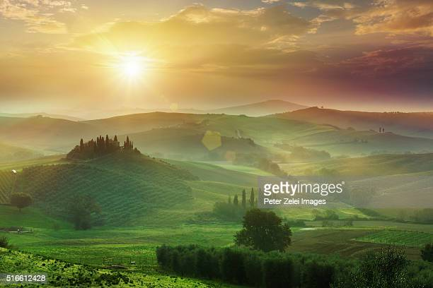 tuscan landscape at sunrise, location: val d'orcia, tuscany, italy. - rolling landscape stock pictures, royalty-free photos & images