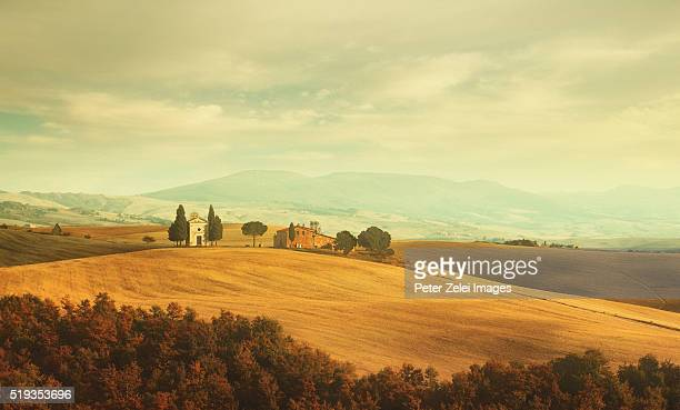 tuscan landscape with the capella di vitaleta - italian cypress stock photos and pictures