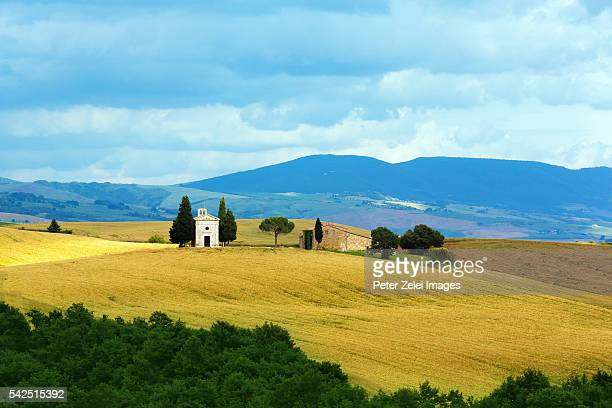 tuscan landscape with the capella di vitaleta - san quirico d'orcia stock pictures, royalty-free photos & images