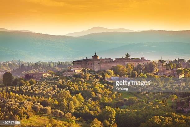 tuscany country scenic landscape of vineyard and hill town - olive orchard stock photos and pictures