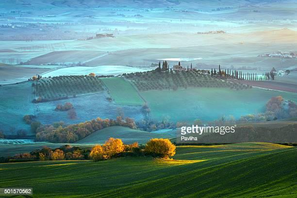 Tuscany farmhouse,morning, frost, winter, mist,Italy.