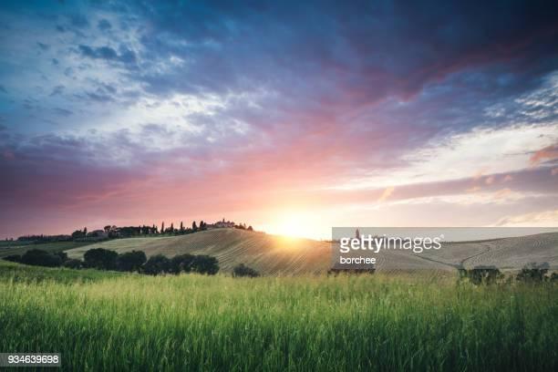 Tuscany Feld ein Sonnenuntergang