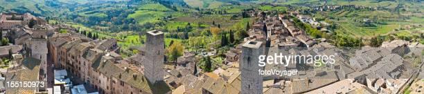 Tuscany hill top town panorama San Gimignano Italy