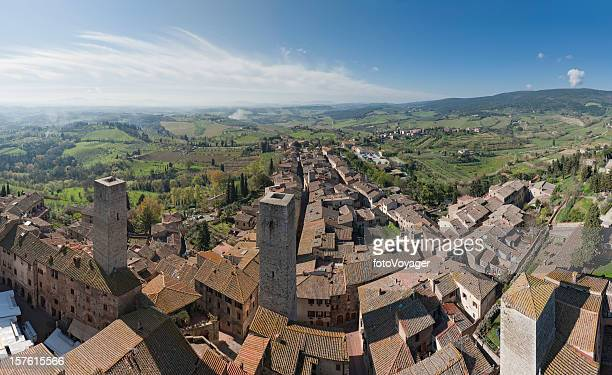 Tuscany hill town medieval towers San Gimignano aerial panorama Italy