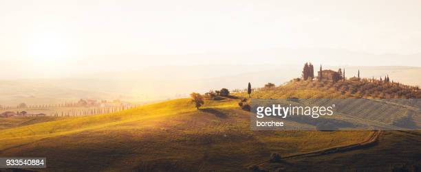 tuscany hills at sunrise - val d'orcia stock pictures, royalty-free photos & images