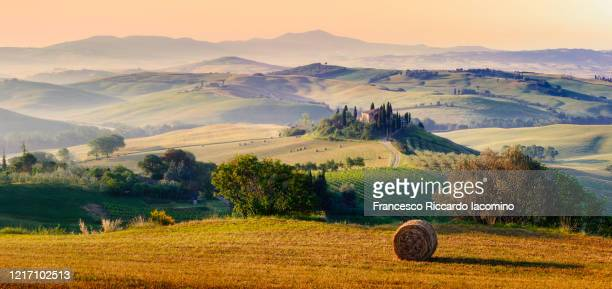 tuscany, italy, panorama. a lonely farmhouse with cypress and olive trees, rolling hills. - iacomino italy foto e immagini stock