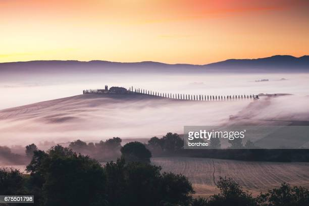 tuscany landscape at sunrise - italian cypress stock photos and pictures