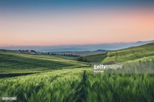 Toskana Landschaft bei Sonnenaufgang