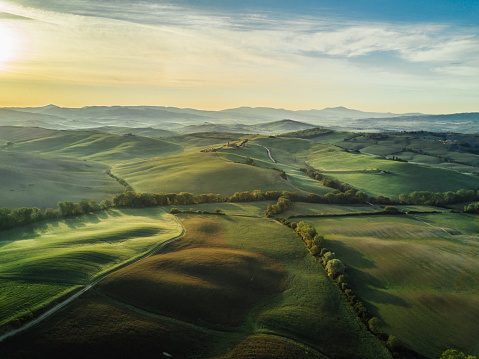 Tuscany landscape at sunrise with low fog 691930476