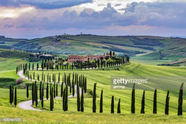 tuscany landscape at sunset - crete senesi - val d'orcia stock pictures, royalty-free photos & images