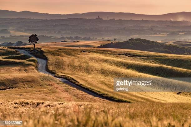 tuscany landscape at sunset - crete senesi - 2018 stock pictures, royalty-free photos & images