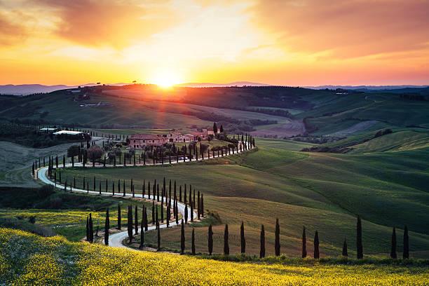 Tuscany Landscape At Sunset Wall Art