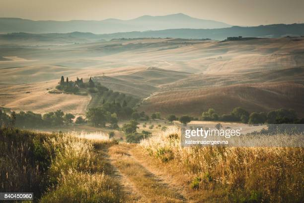 tuscany landscape at sunset - strada di campagna foto e immagini stock
