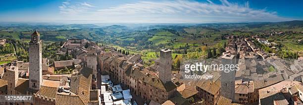 Tuscany market day in San Gimignano towers rooftops panorama Italy