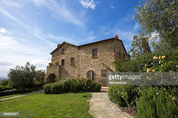 tuscany, next to florence: typical farmhouse and its garden - farmhouse stock pictures, royalty-free photos & images
