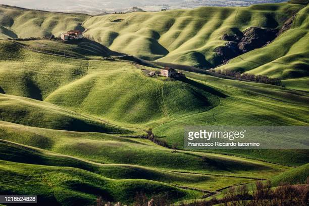 tuscany, springtime landscape and green rolling hills - italy stock pictures, royalty-free photos & images