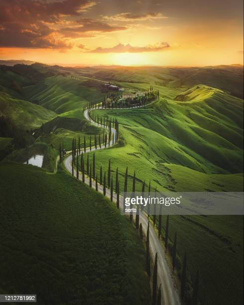 tuscany sunset landscape view of green hills fringed with cypress trees italy, europe - tuscany stock pictures, royalty-free photos & images