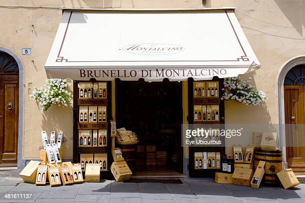 Tuscany Wine shop in the medieval hill town with a display of wines