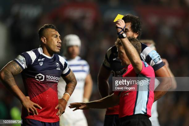 Tusi Pisi of Bristol Bears is shown a yellow card by referee JP Doyle during the Gallagher Premiership Rugby match between Bristol Bears and Bath...
