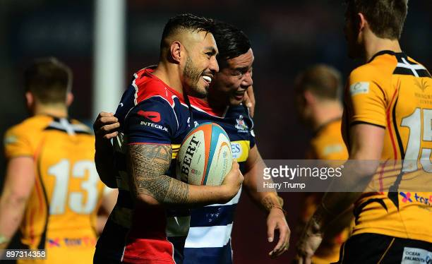 Tusi Pisi of Bristol Rugby celebrates after scoring a try during the Greene King IPA Championship match between Bristol Rugby and Cornish Pirates at...