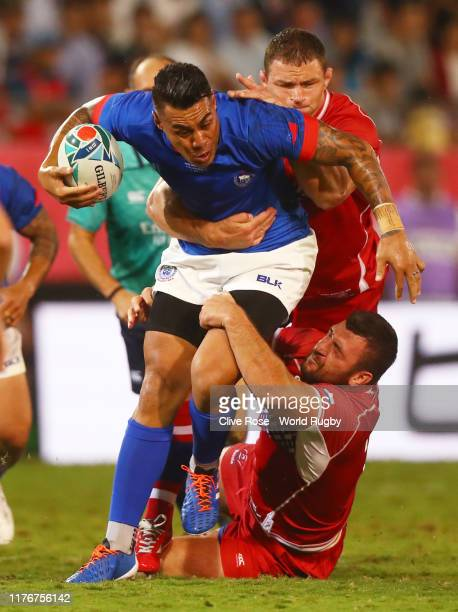 Tusi Pisi of Samoa is tackled during the Rugby World Cup 2019 Group A game between Russia and Samoa at Kumagaya Rugby Stadium on September 24 2019 in...